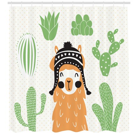 Llama Shower Curtain In A Traditional Ethnic Bolivian Hat Smiling Comic On Polka Dots