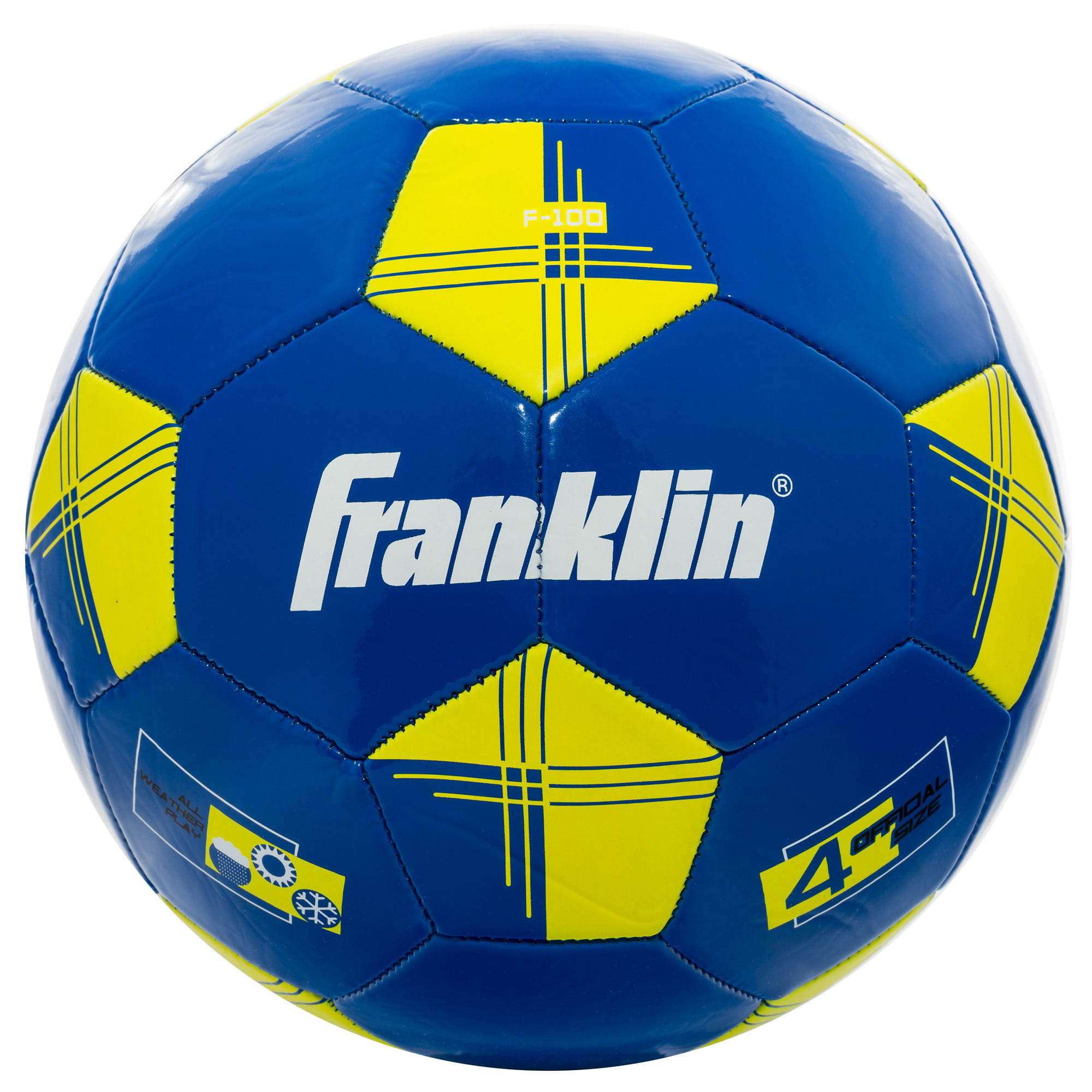 Franklin Sports Competition 100 Soccer Ball, Size 4, Blue and Yellow