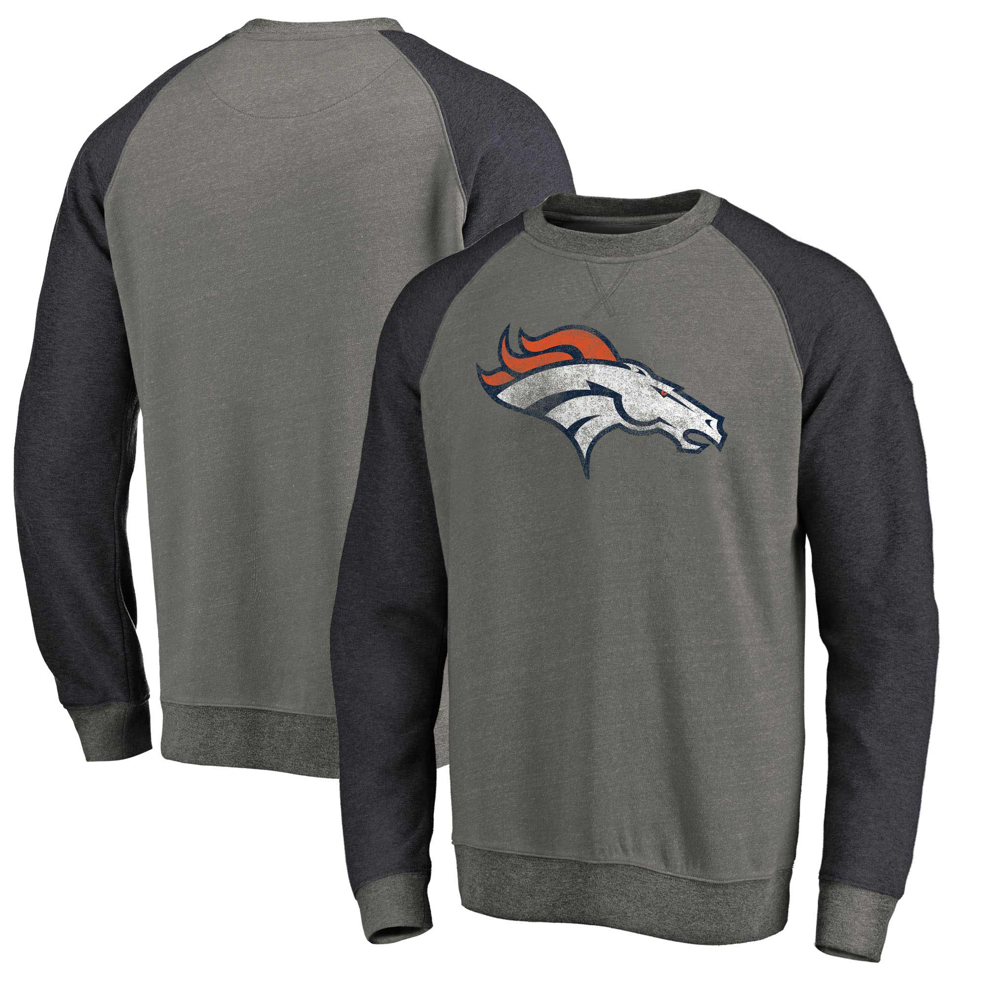 Denver Broncos NFL Pro Line by Fanatics Branded Distressed Team Tri-Blend Pullover Sweatshirt - Heathered Gray/Navy