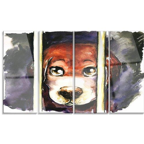 Design Art 'Sad Dog in Animal Shelter' 4 Piece Painting Print on Canvas