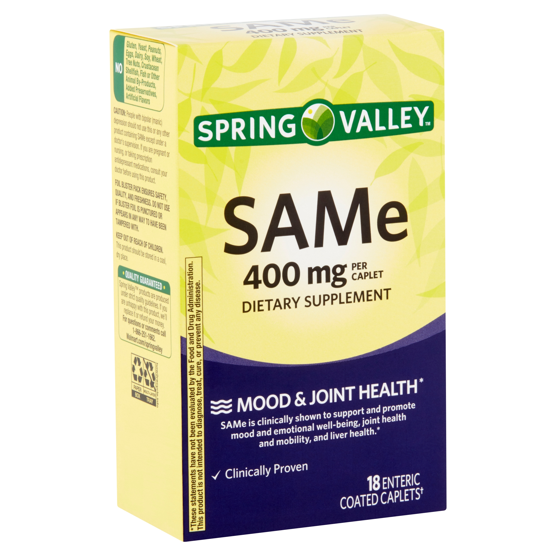 Spring Valley SAMe Enteric Coated Caplets, 400 mg, 18 count