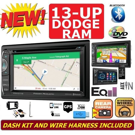 FITS 2013 & UP DODGE RAM NAVIGATION CD/DVD/BLUETOOTH/USB/AUX DOUBLE DIN CAR STEREO RADIO PACKAGE.  INCLUDES INSTALLATION DASH KIT, WIRE HARNESS, AND ANTENNA
