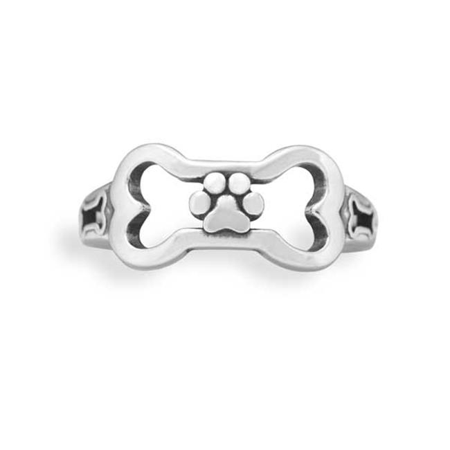P-019763-08 8 in. Sterling Silver Dog Bone Ring with Paw Print - image 1 de 1