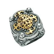 Phillip Gavriel 18k Gold & Sterling Silver Byzantine Filigree Ring, Size 8