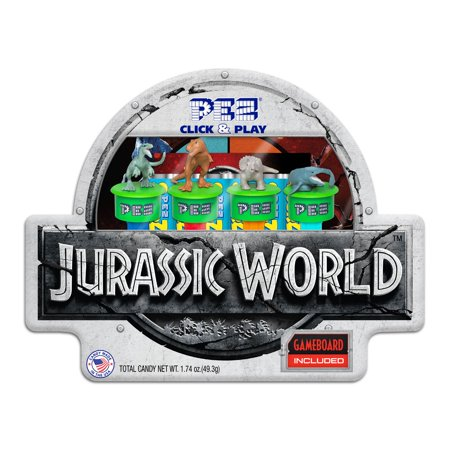 PEZ Candy Jurassic World Click & Play Gift Tin with 4 Candy Dispensers + 6 Rolls of Candy