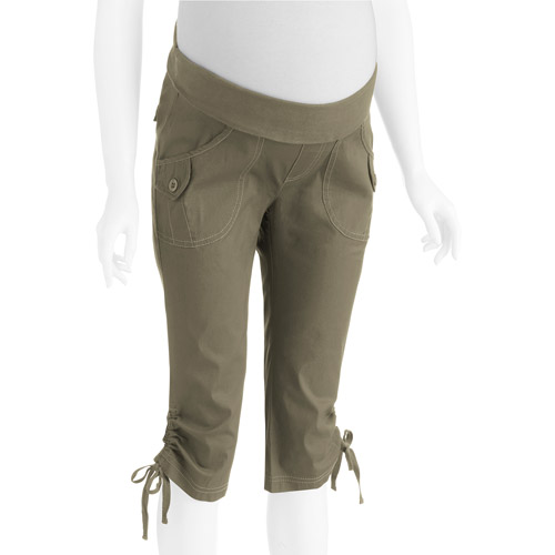 Oh! Mamma Maternity Demi-Panel Casual Woven Capri with Side Ties
