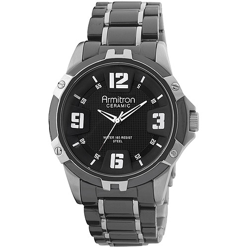 Armitron Men's Dress Watch, Ceramic and Stainless Steel Band