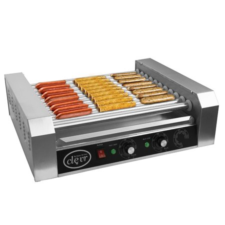 Clevr Commercial Roller Hotdog Roller Cooker, 30 Hot Dog Grill and