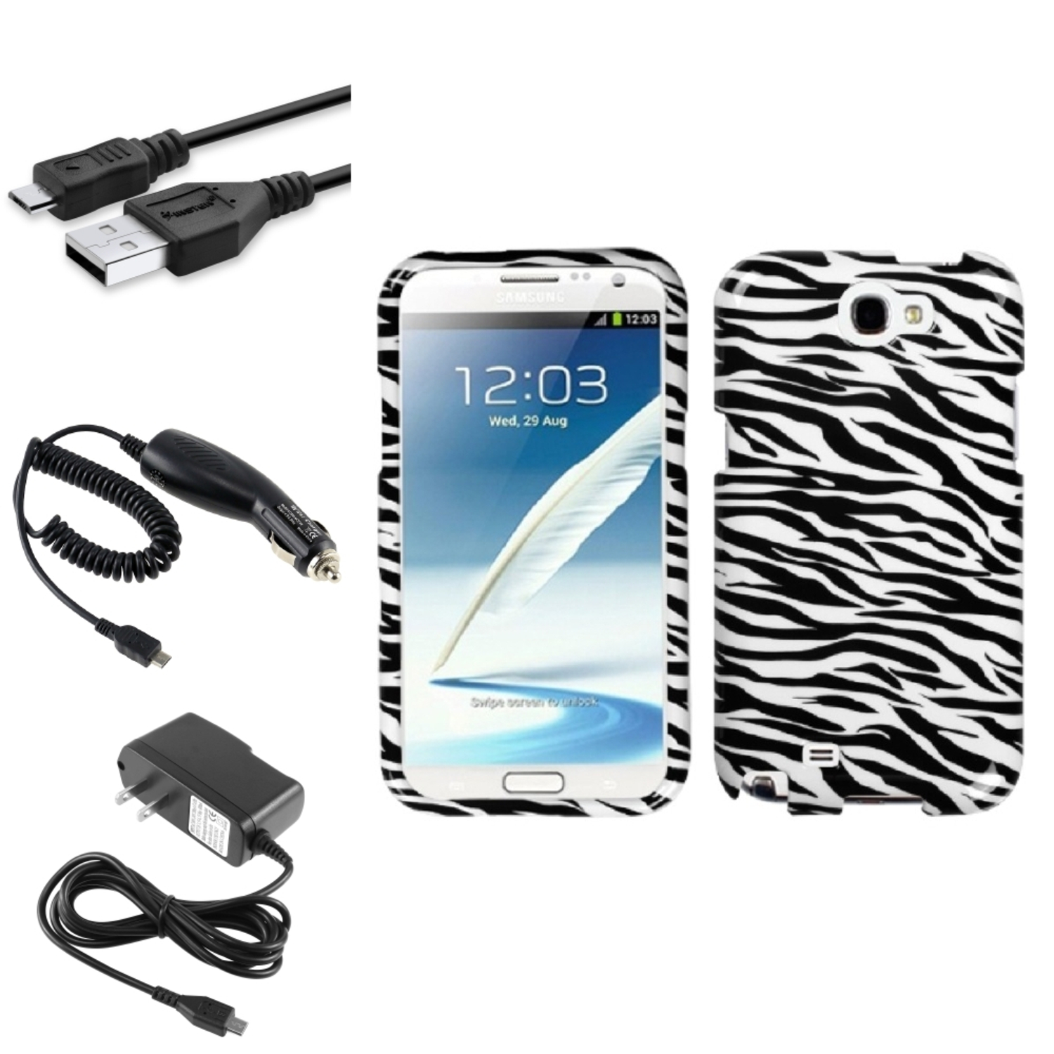 Insten Black Zebra Hard Case Car Wall Charger 3X USB Cable For Samsung Galaxy Note 2 II