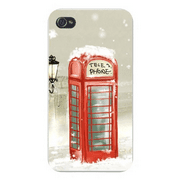 Apple Iphone Custom Case 4 4s Snap on - Vintage Telephone Booth Red British England Style