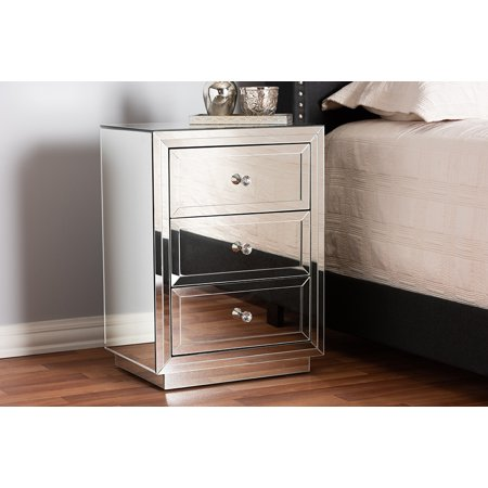Mirrored Bedside Table - Baxton Studio Lina Modern and Contemporary Hollywood Regency Glamour Style Mirrored 3-Drawer Nightstand Bedside Table
