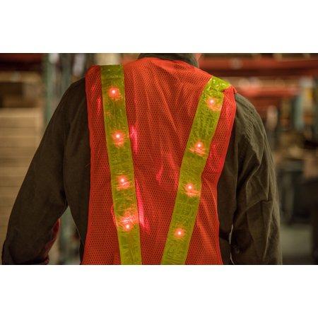 16 Led Lighted Orange Safety Vest](Led Vests)