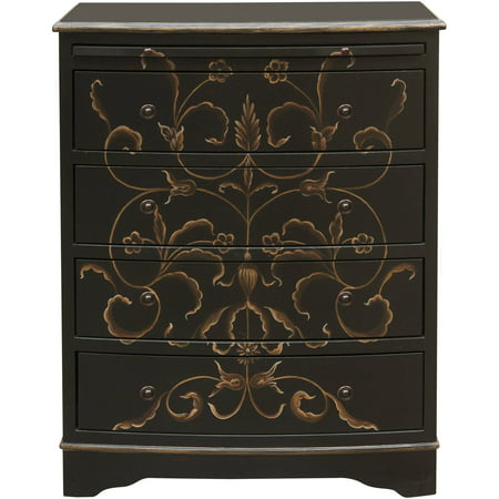 Black Hand Painted Curved Front Drawer (Curved Chest)