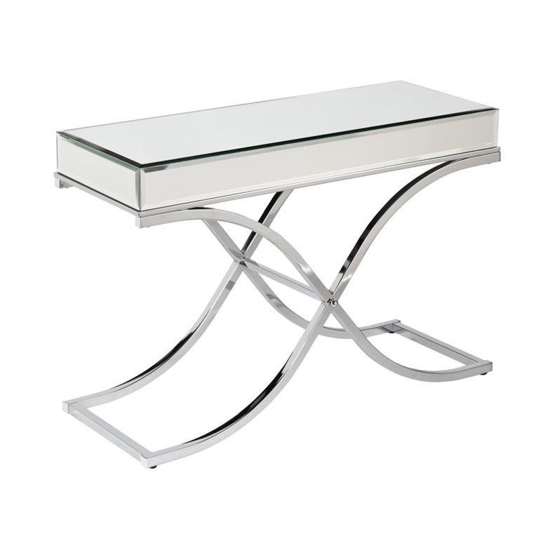 Southern Enterprises Ava Mirrored Console Table in Chrome