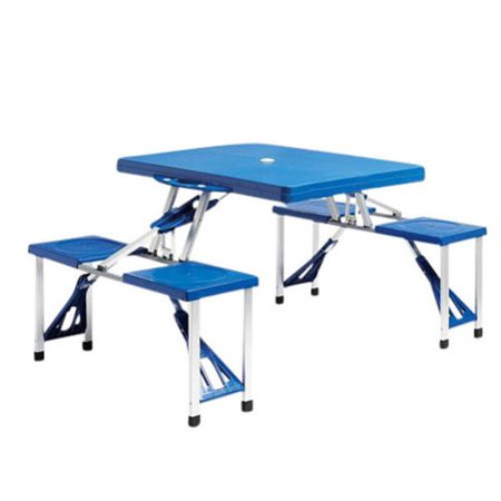 Portable Folding Plastic Picnic Table Indoor Outdoor Kids Camping Table 4 Sea