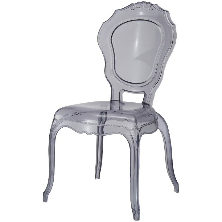 2xhome   Modern Plastic Chairs Ghost Side Chair Transparent Crystal Smoke
