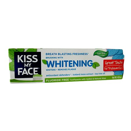 Kiss My Face Whitening Fluoride-gratuit Natural Aloe Dentifrice Xylitol, Cool Mint Gel - 4.5 Oz, 3 Pack