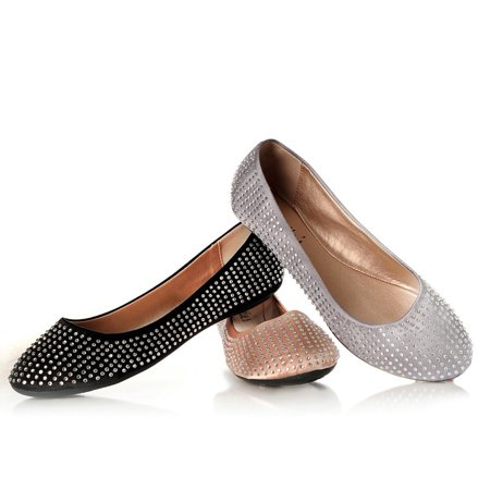 (Sweetie's Shoes Black Studded Sally Special Occasion Flats)