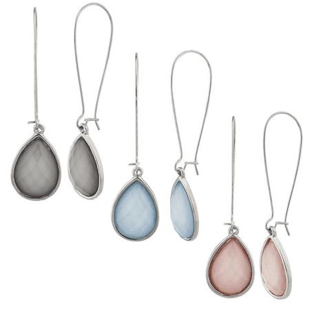 Lux Accessories Silver Tone Wire teardrop Acrylic Stone Multi Earring Set