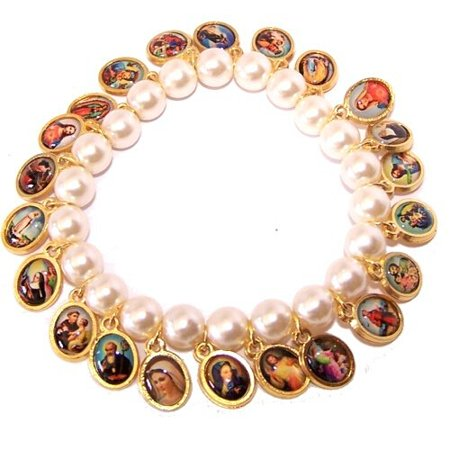 - Pearl beads elastic bracelet with Saints icons (6cm or 2.36