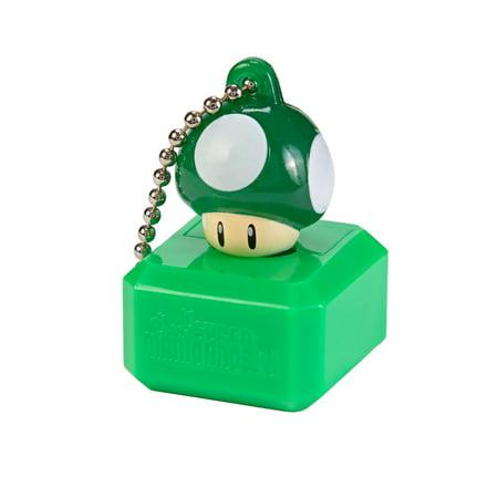 New Super Mario Bros U Mascot Keychain Light - 1 Up Green Mushroom (Super Mario Mascot)