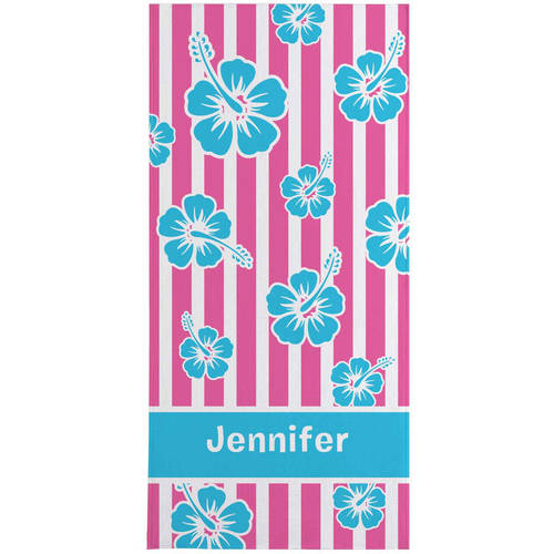 Personalized Island Flowers Beach Towel, Available In 3 Colors