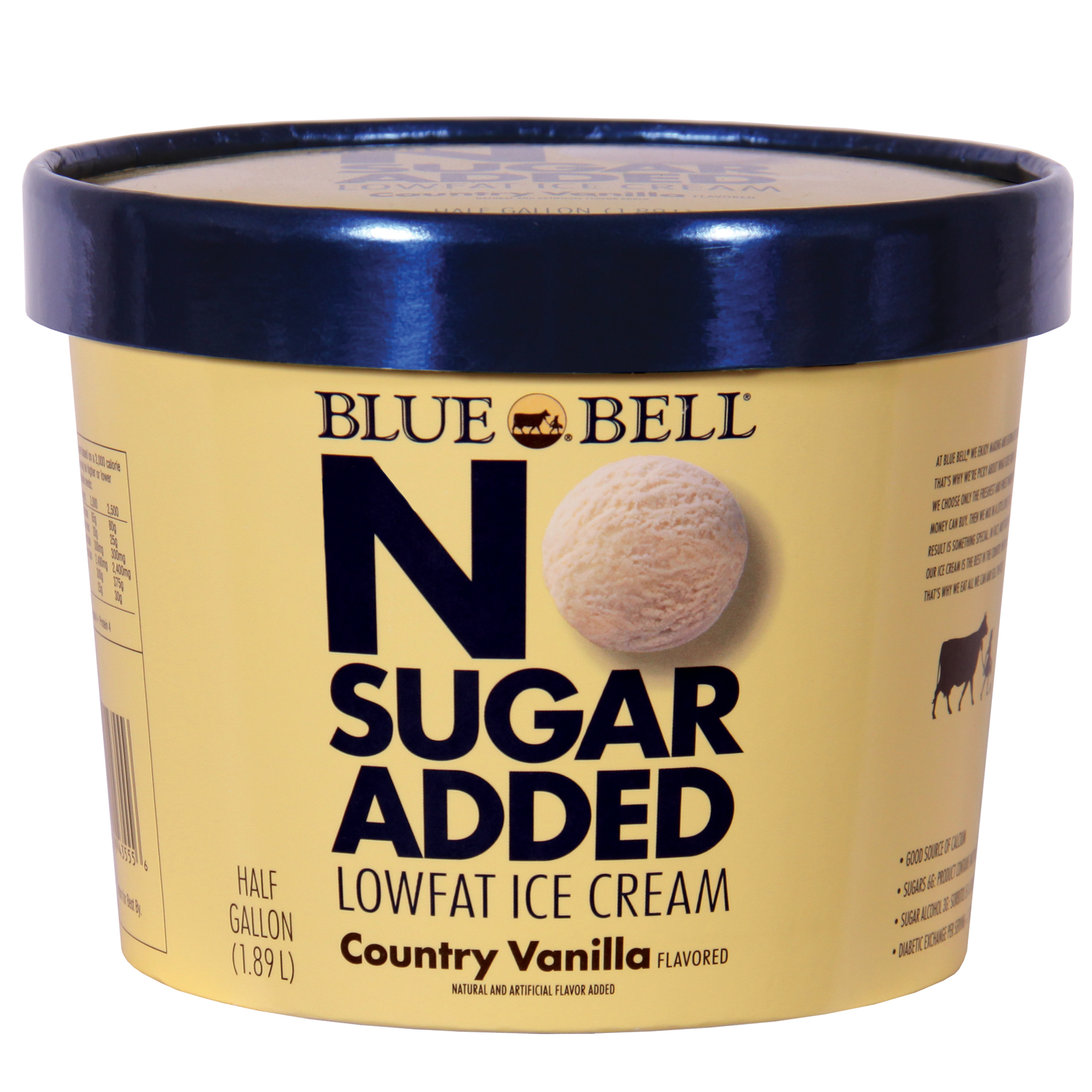 Blue Bell No Sugar Added, Country Vanilla Ice Cream, 64 OZ