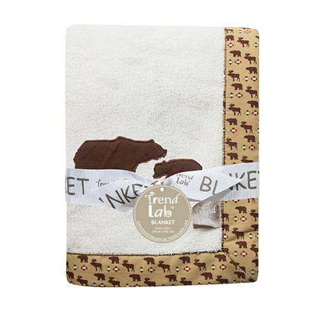 (Northwoods Bear Framed Coral Fleece Baby Blanket)