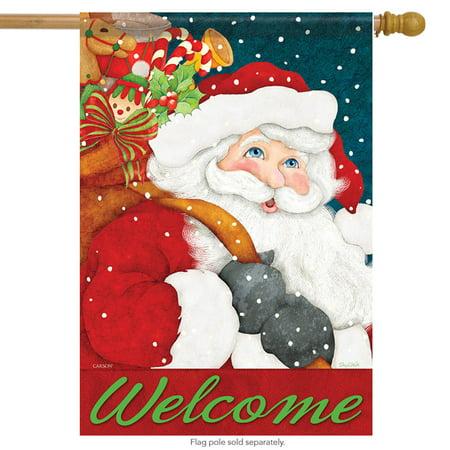 """Welcome Santa House Flag Christmas Holiday Banner 28"""" x 40"""""""