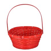 Red Weave Round Handle Bamboo Basket - Medium 9in