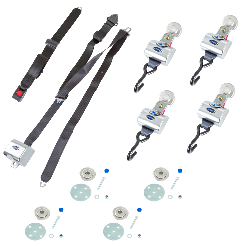 QRT MAX Slide 'N Click Retractor Kit with Retractable Belts and Floor Pockets