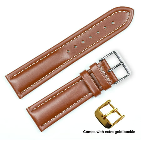 deBeer brand Breitling Style Oil Tanned Leather Watch Band (Silver & Gold Buckle) - Havana 20mm