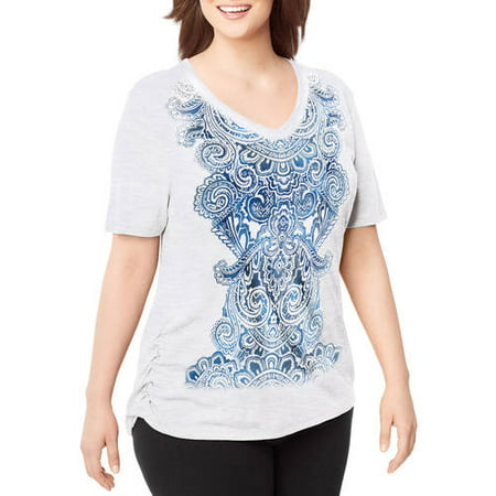 f85aa189f Just My Size - by Hanes Women's Plus-Size Short-Sleeve V-Neck Graphic T- Shirt with Side Shirring - Walmart.com