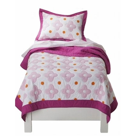 Pretty Flower Bed - Girls Pretty Pink Flower Dot Stitched Full Queen Quilt & Shams Set 3 Piece