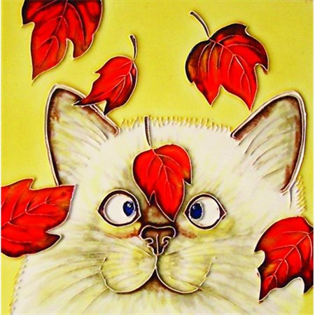 En Vogue B-119 Cat with Red Leaves - Decorative Ceramic Art Tile - 8 in. x 8 (Decorative Ceramic Art Tile)