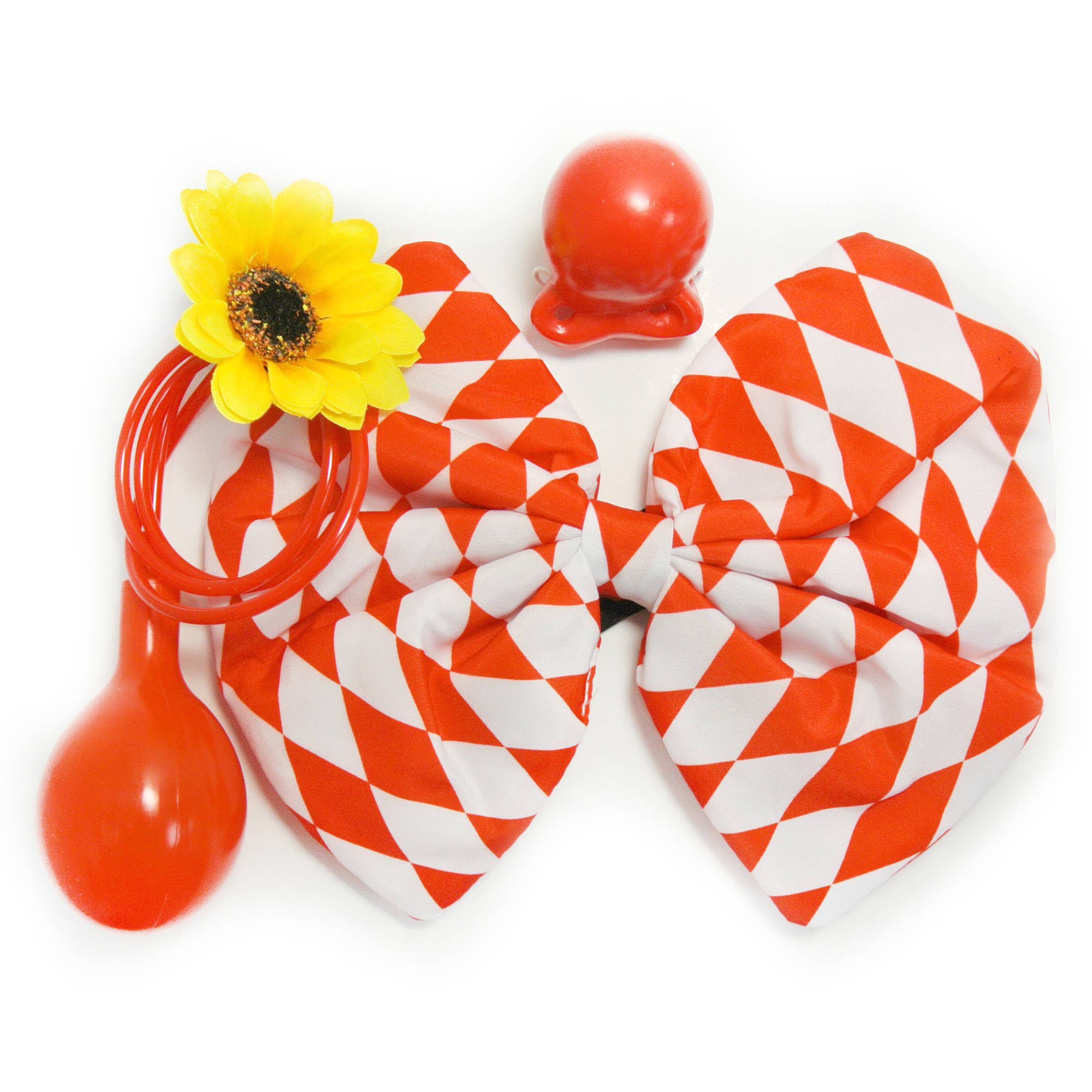 Red White Check Clown Halloween Costume Accessory Kit