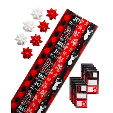 american greetings christmas wrapping paper set with gift bows and gift tags - Walmart Christmas Wrapping Paper
