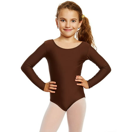 Leveret Girls Leotard Basic Long Sleeve Ballet Dance Leotard Kids & Toddler Shirt (2-14 Years) Variety of Colors - Girls Leotard