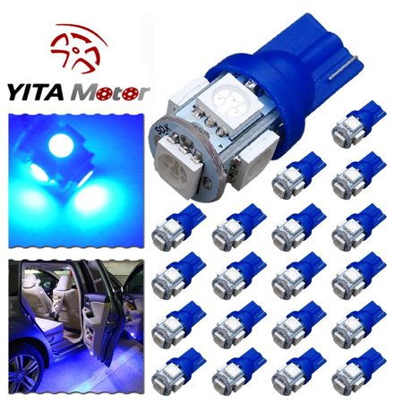 20 x Ultra Blue T10 LED Bulbs Car Interior License Light 2825 194 5050 5 -