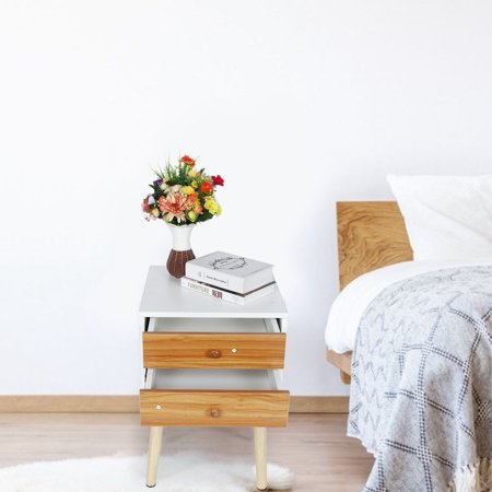 Dioche Household Bedside Table Modern Wooden Nightstand with Double Drawer Bedroom Table