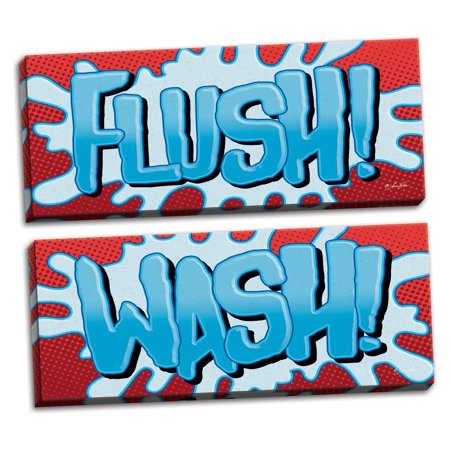 Gango Home Decor Contemporary Superhero Flush! & Superhero Wash! by Lauren Rader (Ready to Hang); Two 20x8in Hand-Stretched (Super Flush)