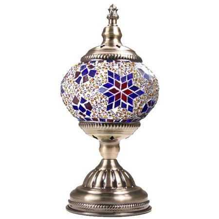 - Silver Fever Handcrafted Mosaic Turkish Lamp -Moroccan Glass - Table Desk Bedside Light- Bronze Base (Star Of David Purple)