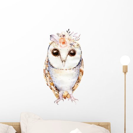 Pale Floral Boho Owl Wall Decal Wallmonkeys Peel and Stick Animal Graphics (18 in H x 16 in W) WM502869