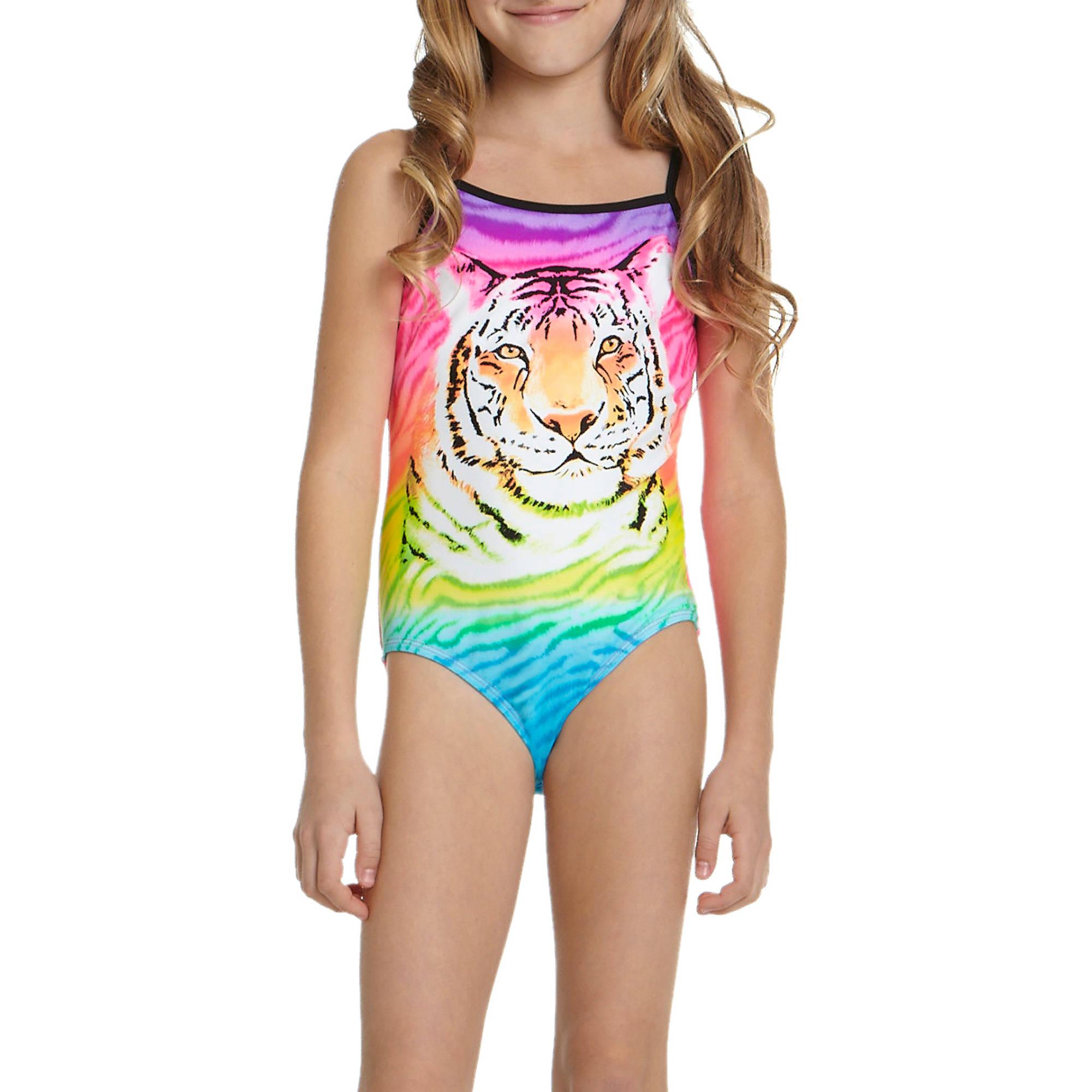 Op Girls Sorbet Tiger One Piece Swimsuit Walmart Com