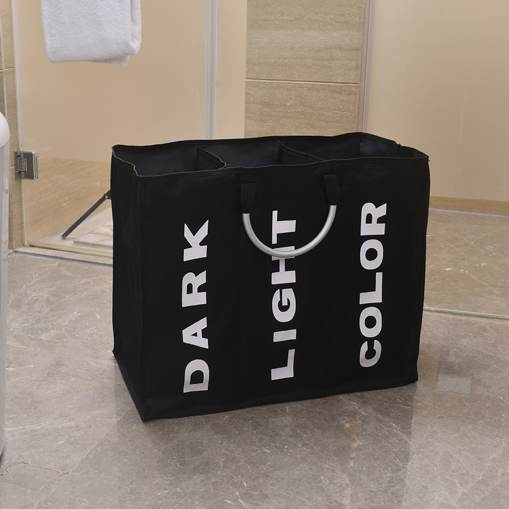 Outopee Big Laundry Basket Large Laundry Hamper Portable Three Lattice Large Capacity Laundry Basket Black