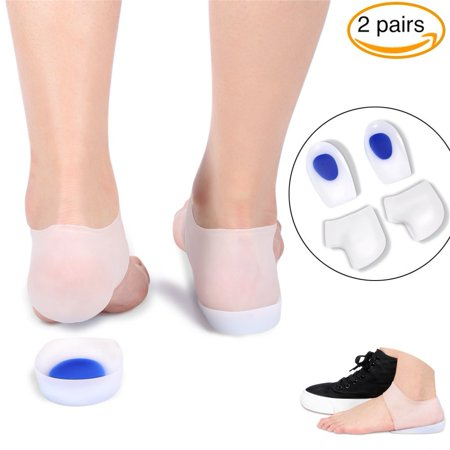 Gel Heel Cups Inserts and Compression Heel Sleeves Socks--2 Pairs, Foot Ankle Pain Relief for Plantar Fasciitis Spurs Pads Cracked Heels Achilles Tendonitis, Heel Protection Cushion Shock