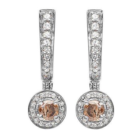 Gold Champagne Diamond Earrings - 0.50 Carat (ctw) 18k White Gold Round Champagne & White Diamond Ladies Fine Dangling Drop Earrings 1/2 CT