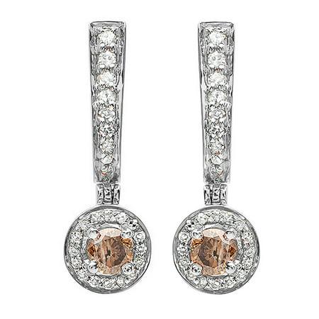 Dazzlingrock Collection 0.50 Carat (ctw) 18K Champagne & White Diamond Ladies Dangling Drop Earrings 1/2 CT, White (Dean Harris 18k Earrings)