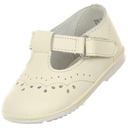 BNY Corner Baby Girls Angel T Strap Mary Jane Toddler Christening Baptism Infant Dress Shoes Ivory 1 Infant TR - Toddler Ivory Shoes