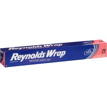 (2 Pack) Reynolds Wrap Aluminum Foil, 75 Sq Ft